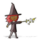 Cartoon witch girl casting spell — Stock Vector