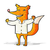 Cartoon happy fox wearing shirt — Stockvektor