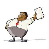Szef kreskówka macha dokumentów — Wektor stockowy