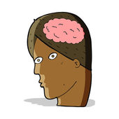 Cartoon head with brain symbol — Stock Vector