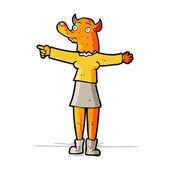 Cartoon pointing fox woman — Stock Vector