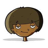 Cartoon smug looking boy — Stock Vector