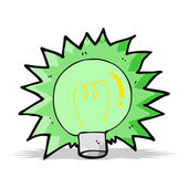Cartoon flashing green light bulb — Stock Vector