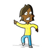 Cartoon worried man pointing — Stockvector