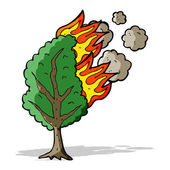 Cartoon burning tree — Stock Vector