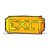 Cartoon exit sign — Stock Vector