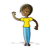 Cartoon woman waving — Stock Vector
