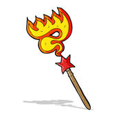 Cartoon magic wand casting fire spell — Stock Vector