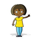 Cartoon happy woman pointing — Stock Vector