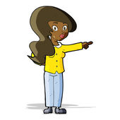 Cartoon pretty woman pointing — Stockvector