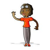 Cartoon pilot woman waving — Stock Vector