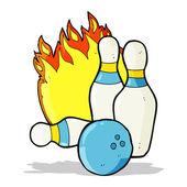 Ten pin bowling cartoon — 图库矢量图片