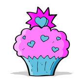 Cartoon kärlek hjärtat cupcake — Stockvektor