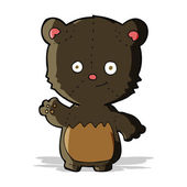 Cartoon little black bear waving — Stockvektor