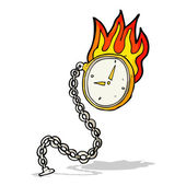 Cartoon flaming watch — Stock Vector