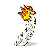 Karikatür yanan tüy — Stok Vektör