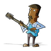 Cartoon man playing electric guitar — Stockvector