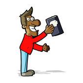Karikatur mann mit buch — Stockvektor