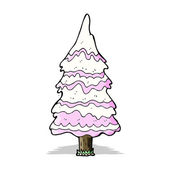 Cartoon pink snowy tree — Stock Vector