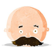 Cartoon bald man with mustache — Vector de stock