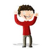 Cartone animato ragazzo eccitato — Vettoriale Stock