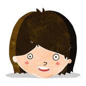 Szczęśliwy twarz kobiece kreskówka — Wektor stockowy