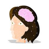 Mujer jefa de dibujos animados con el símbolo del cerebro — Vector de stock