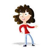 Cartoon worried woman pointing — Stok Vektör