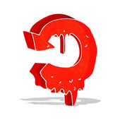 Cartoon melting arrow symbol — Stock Vector