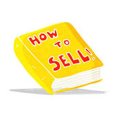 Cartoon how to sell book — Stock Vector
