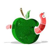 Cartooon worm in apple — Stock Vector