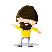 Cartoon happy bearded man waving — Stock Vector