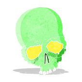 Cartoon spooky old skull — Stock Vector