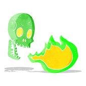 Cartoon fire breathing skull — Stock Vector