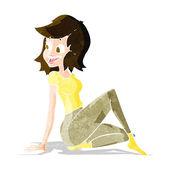 Cartoon pretty woman looking happy — Stock Vector