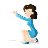 Cartoon woman presentation gesture — Stock Vector