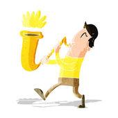 Cartoon man blowing saxophone — Stock Vector