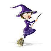 Cartoon witch riding broomstick — Stock Vector
