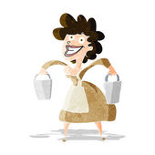 Cartoon milkmaid carrying buckets — Stock Vector