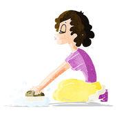Cartoon woman scrubbing floor — Stock Vector