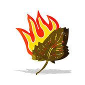 Cartoon burning dry leaf symbol — Stock Vector