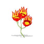 Cartoon burning flowers — Stock Vector