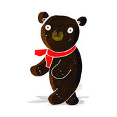Cute cartoon black teddy bear — Vecteur