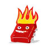 Cartoon red hot computer chip — Stock Vector