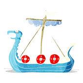 Cartoon viking ship — Stock Vector