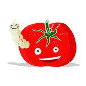 Cartoon tomato with bug — Stock Vector