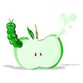 Cartoon apple with bug — Stock Vector