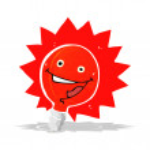 Happy flashing red light bulb cartoon — Stock Vector #51098827