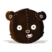 Cartoon black teddy bear head — Stock Vector