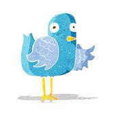 Cartoon bird waving wing — Vector de stock